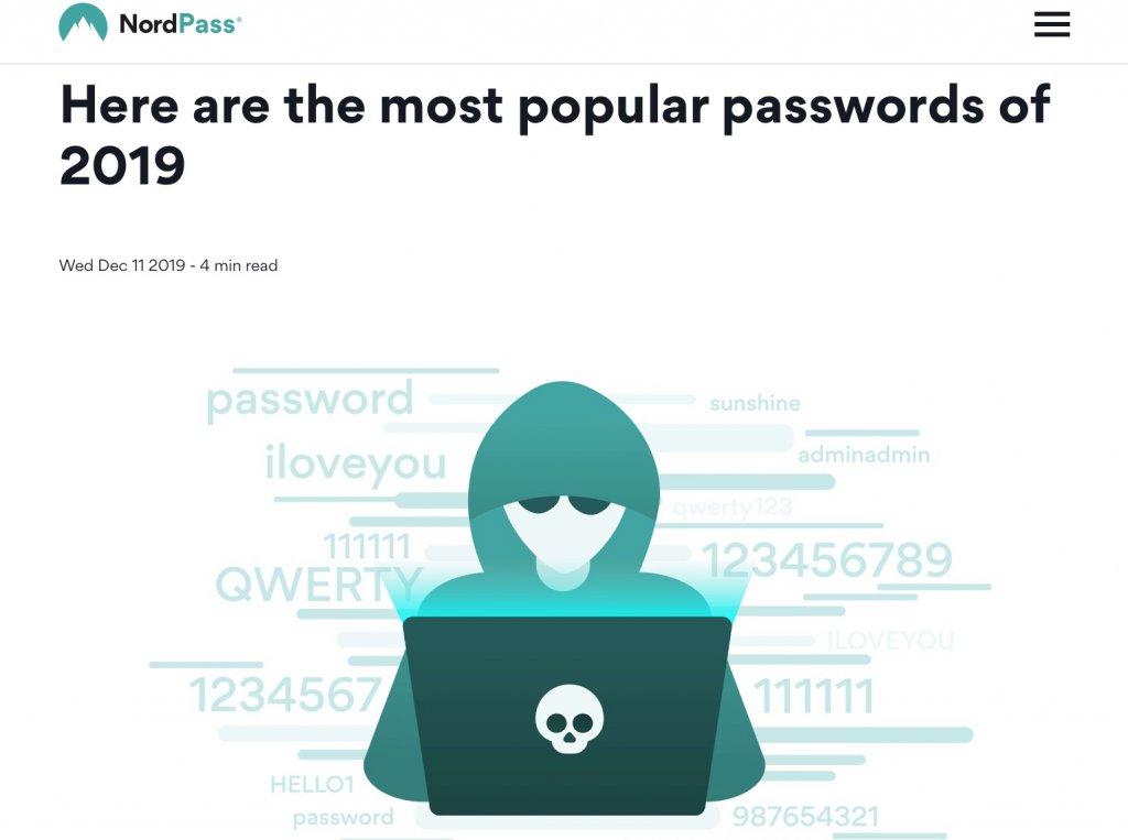 最悪のパスワードトップ2019年トップ200