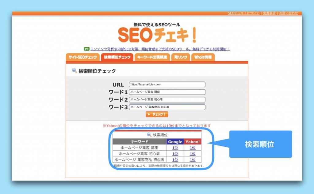 検索順位チェックツールSEOチェキの検索順位表示例