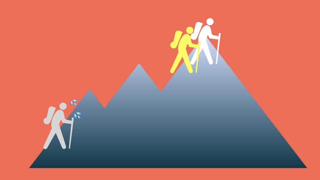個人事業主の失敗。独学自力1人でやろうとするイメージ図。