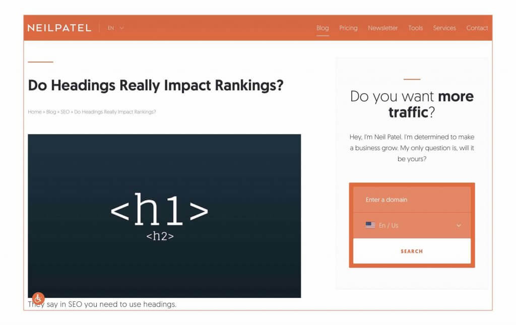 NEILPATEL「Do Headings Really Impact Rankings?」Neil Patel