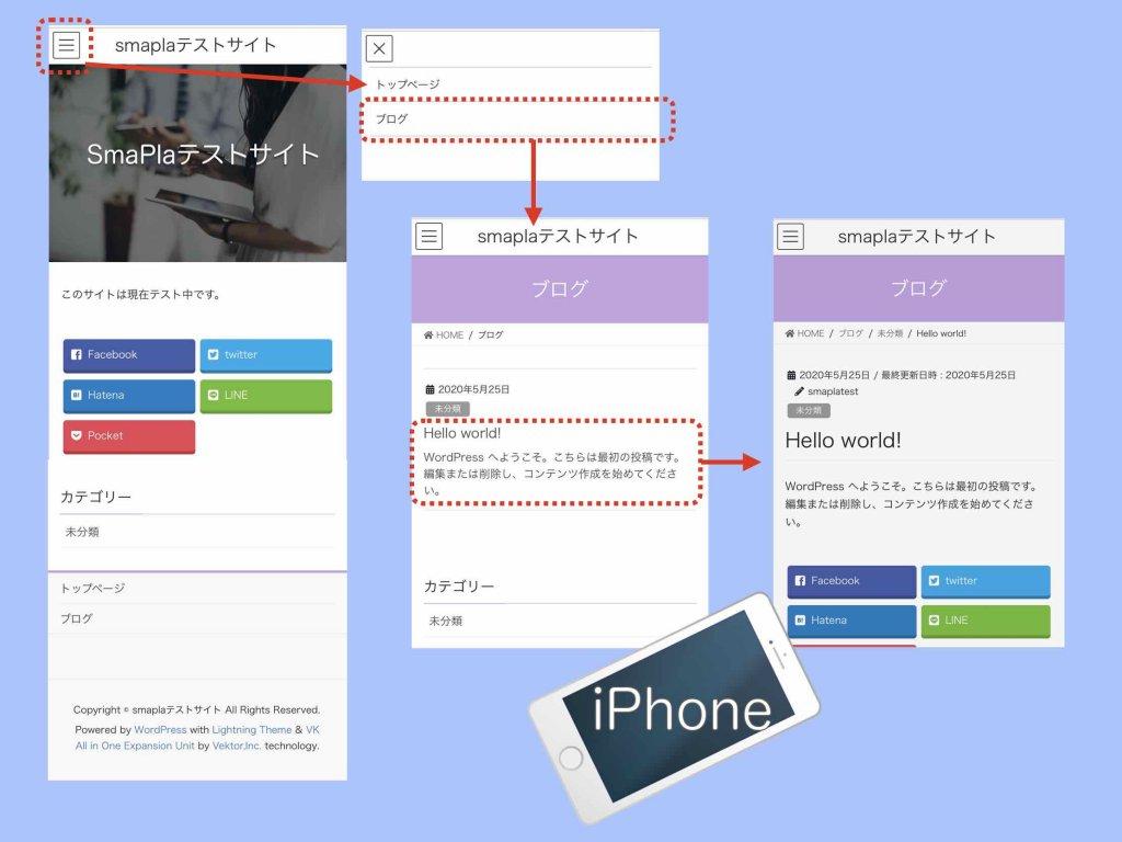 スマホiPhoneでのホームページ表示イメージ例