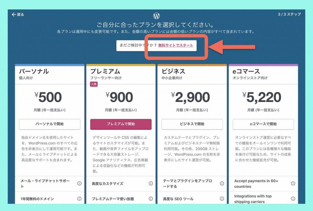 WordPress.comプラン選択