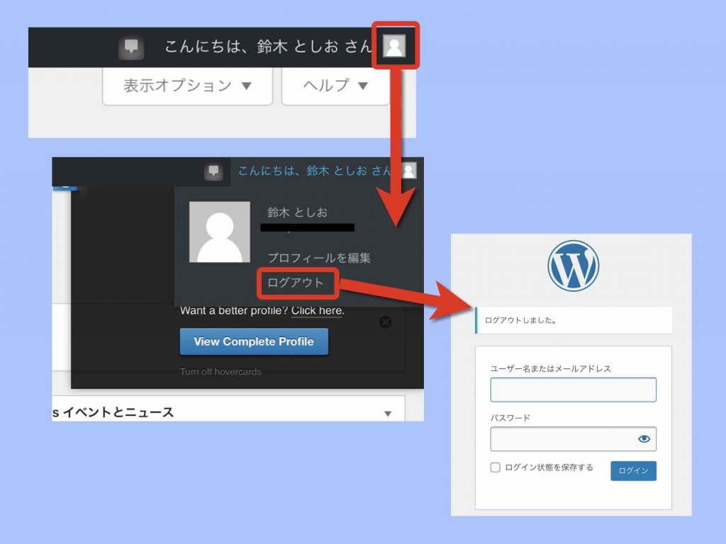 WordPressログオフ例