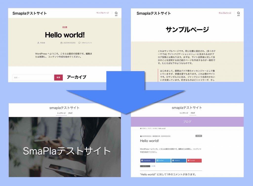 設定前と設定後のホームページ表示イメージ例