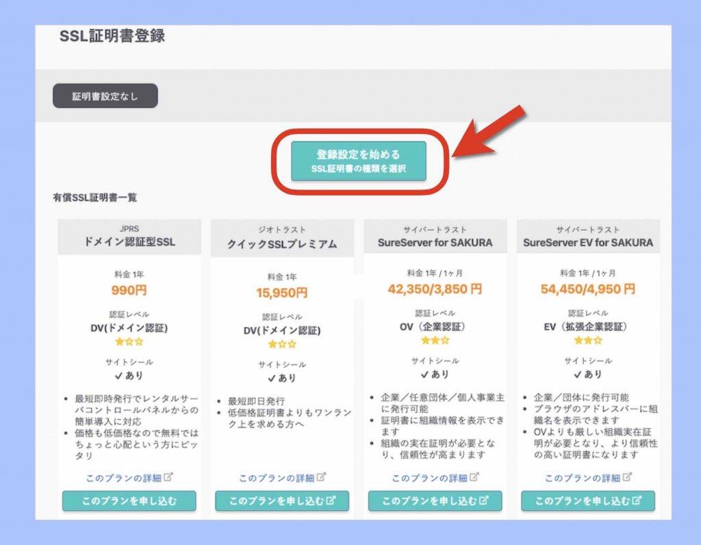 SSL登録設定を始める手順例