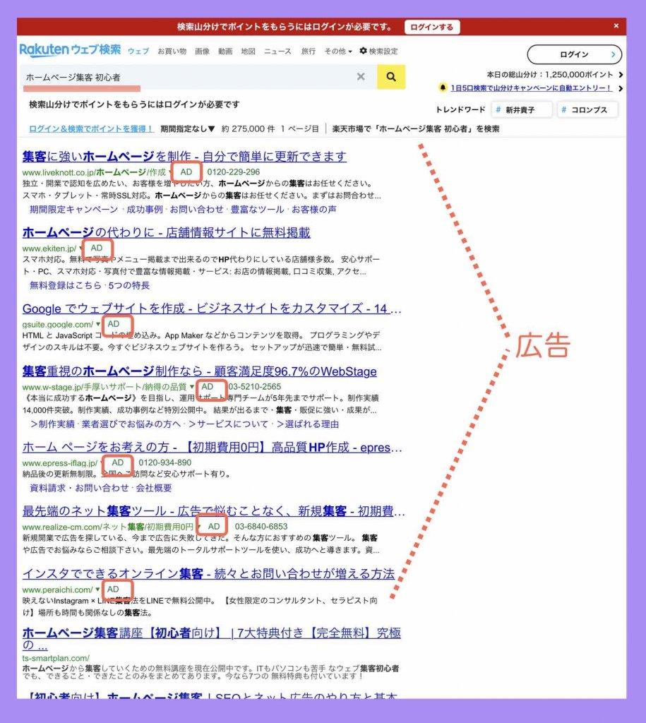 ウェブ広告(リスティング広告)が出すぎの検索結果例