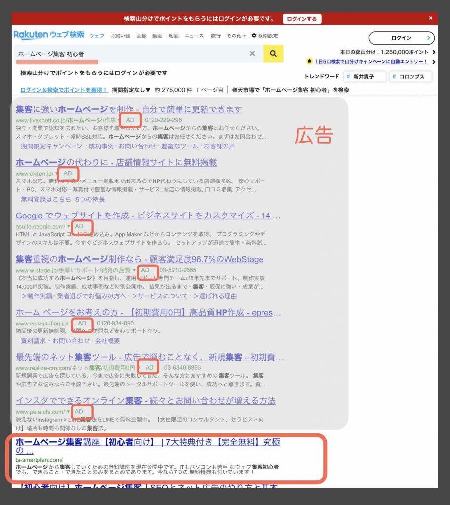 楽天ウェブ検索の検索結果確認例