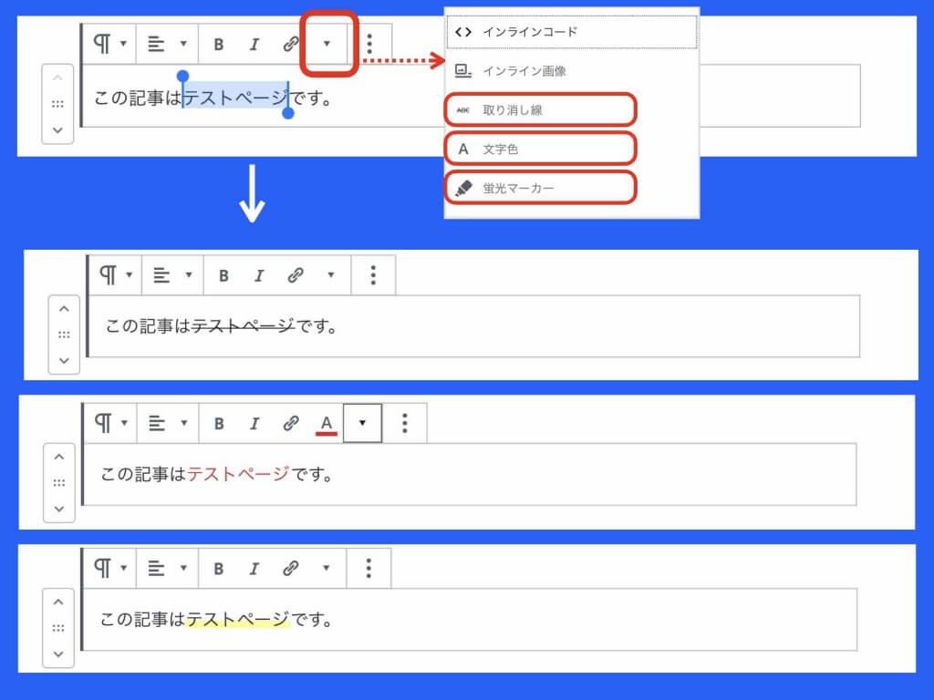 ワードプレス文字列編集例(取り消し線、文字色、傾向マーカー)