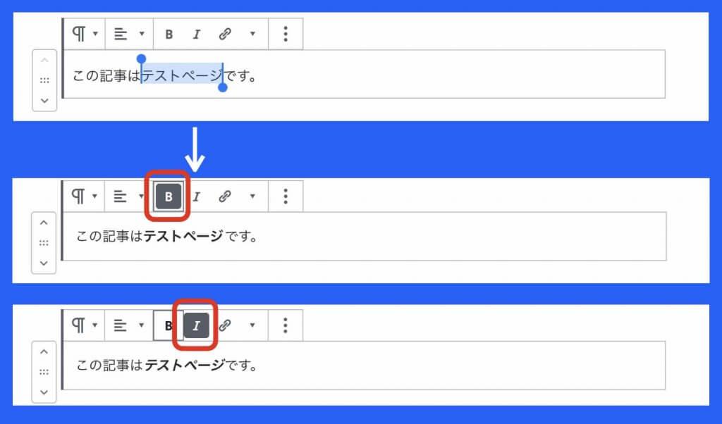 ワードプレス文字列編集例(太字、斜体)