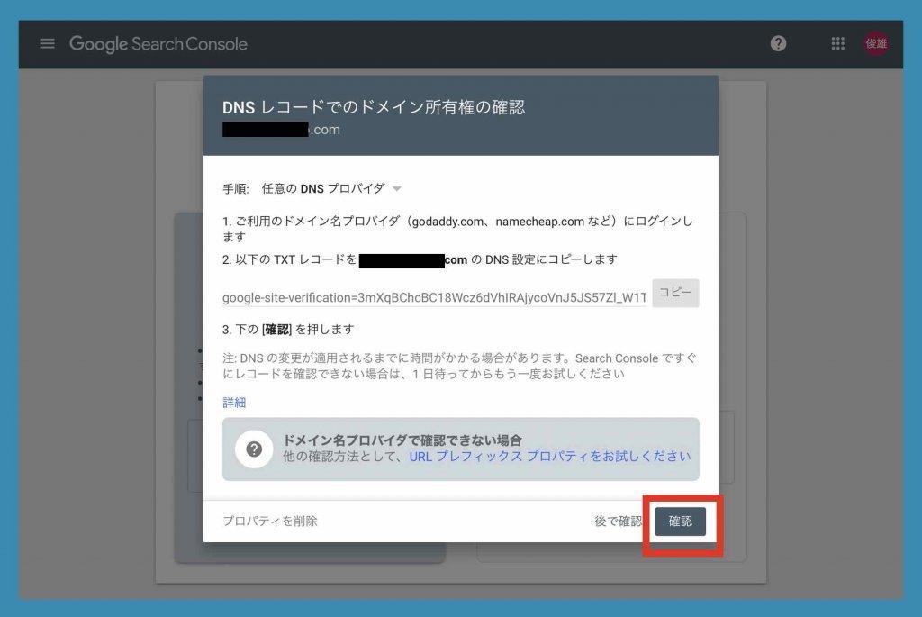 DNSレコードでのドメイン所有権の確認画面例