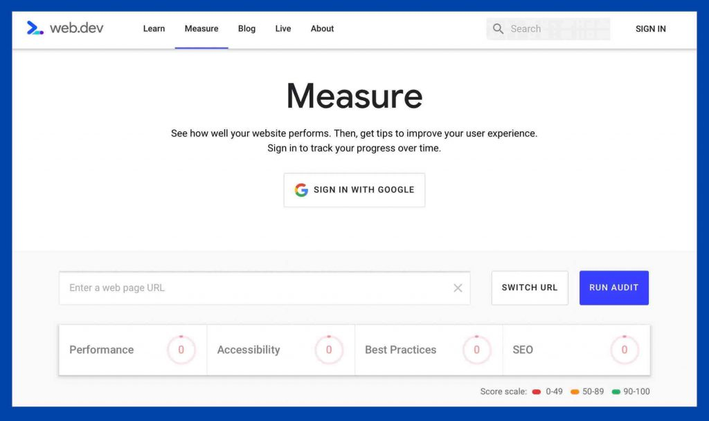 web.dev's measure tool初期画面
