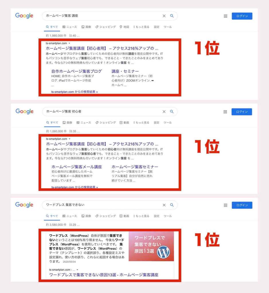 Google検索順位1位例