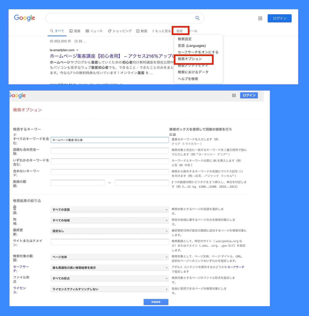 Google検索オプションの設定例