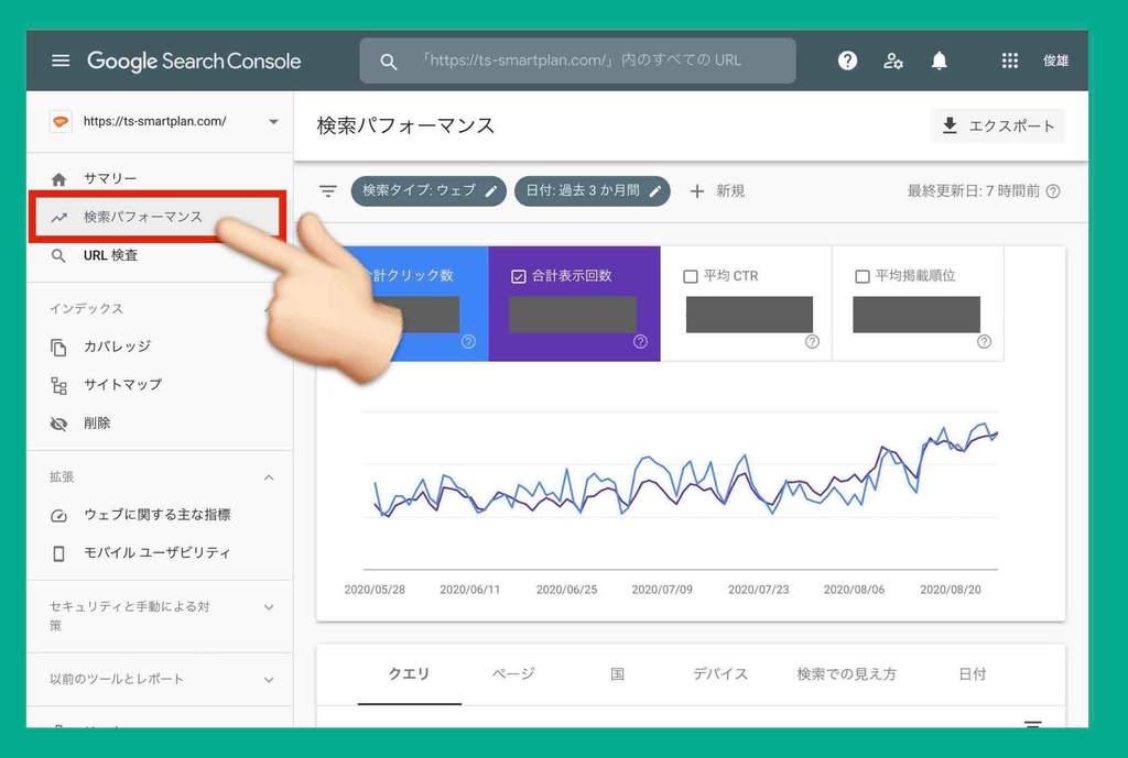 Googleサーチコンソールの検索パフォーマンスを確認