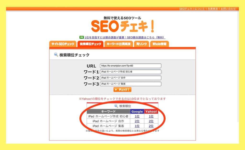 自サイトの検索順位の調べ方・使い方(SEOチェキ)結果画面例