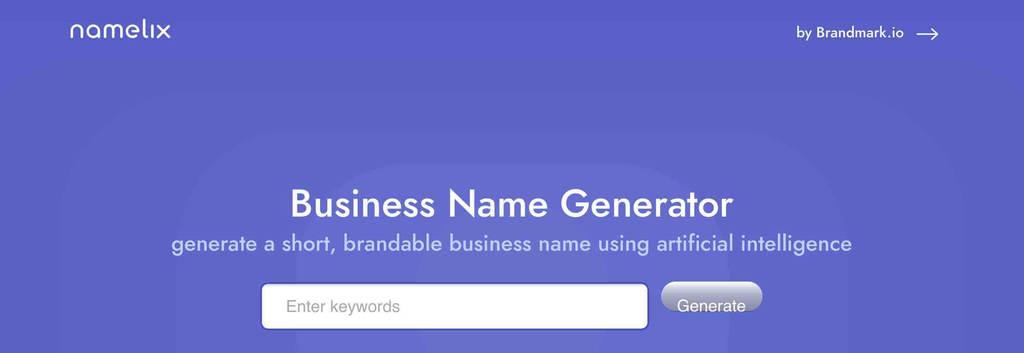 無料ネーミングツール「Business Name Generator/namelix」