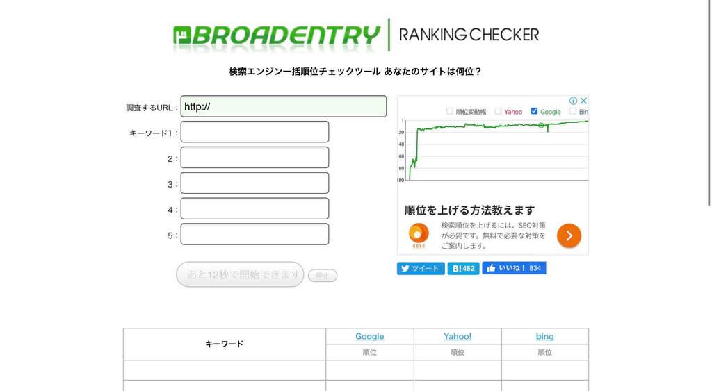 アクセス数を増やすための簡易な検索順位の調査なら神ツール「BROADENTRY RANKING CHECKER」