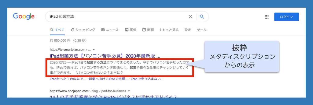 メタディスクリプション(meta description)検索結果表示例