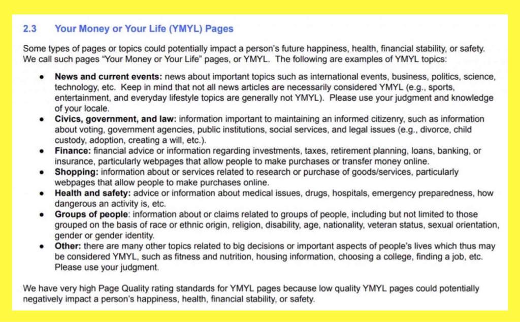 Google検索上位にこない原因の一つYMYLの定義