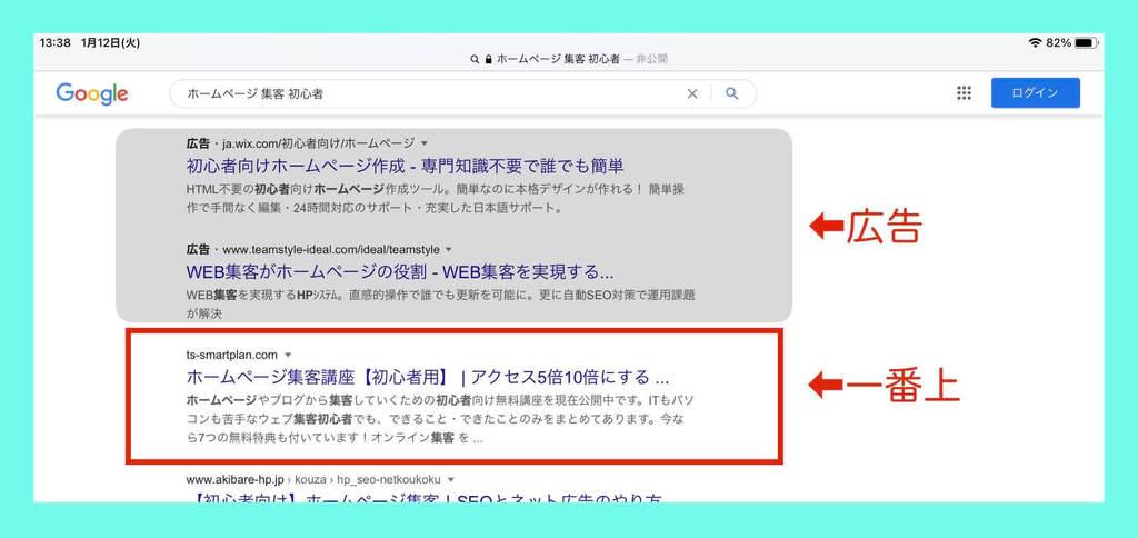 検索結果の一番上に出てくる例(2)検索キーワード:ホームページ集客初心者