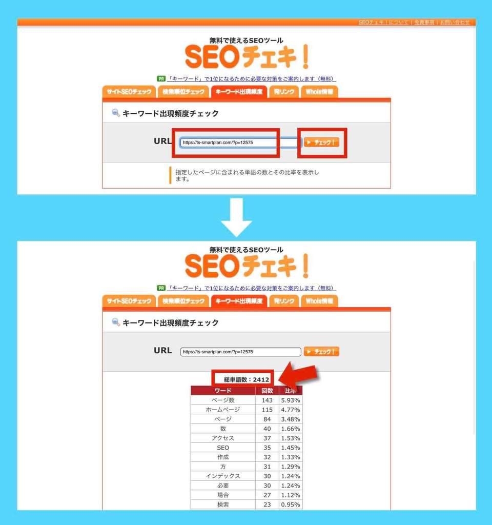 SEOチェキ(キーワード出現頻度)によるブログ記事の単語数カウント確認例