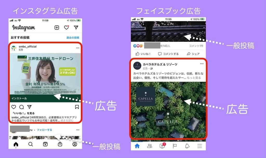SNS広告Facebook広告とInstagram広告の表示例