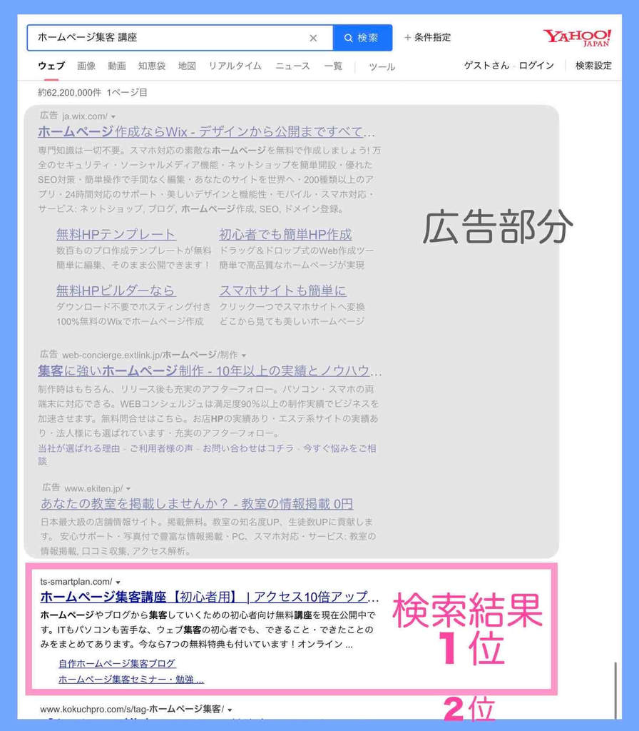Yahoo!検索結果の例