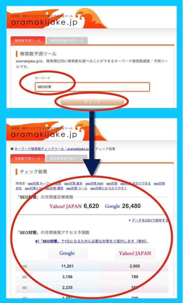 検索ボリューム調査ツールaramakijakeの使い方