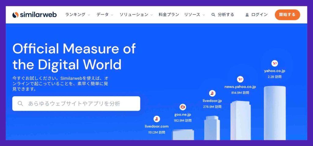 競合調査に使えるツール(Similarweb(シミラーウェブ))