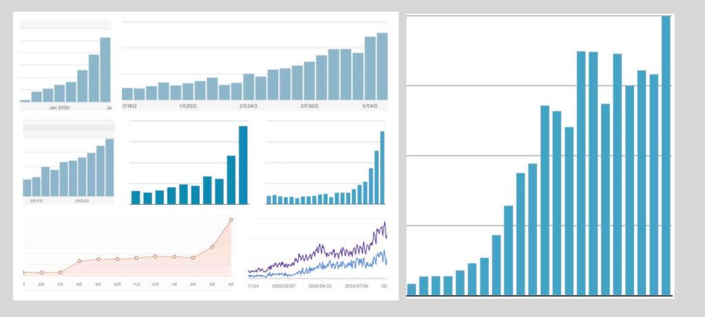 ホームページ集客SEOの実施結果例(アクセス数・PV数)