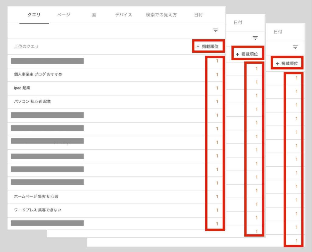 ホームページ集客SEOの実施結果例(Googleサーチコンソール検索順位1位)