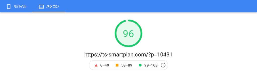 WordPressで作成したホームページの表示性能改善結果例(パソコン表示)